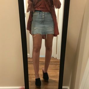 NWT free people raw edges button up skirt
